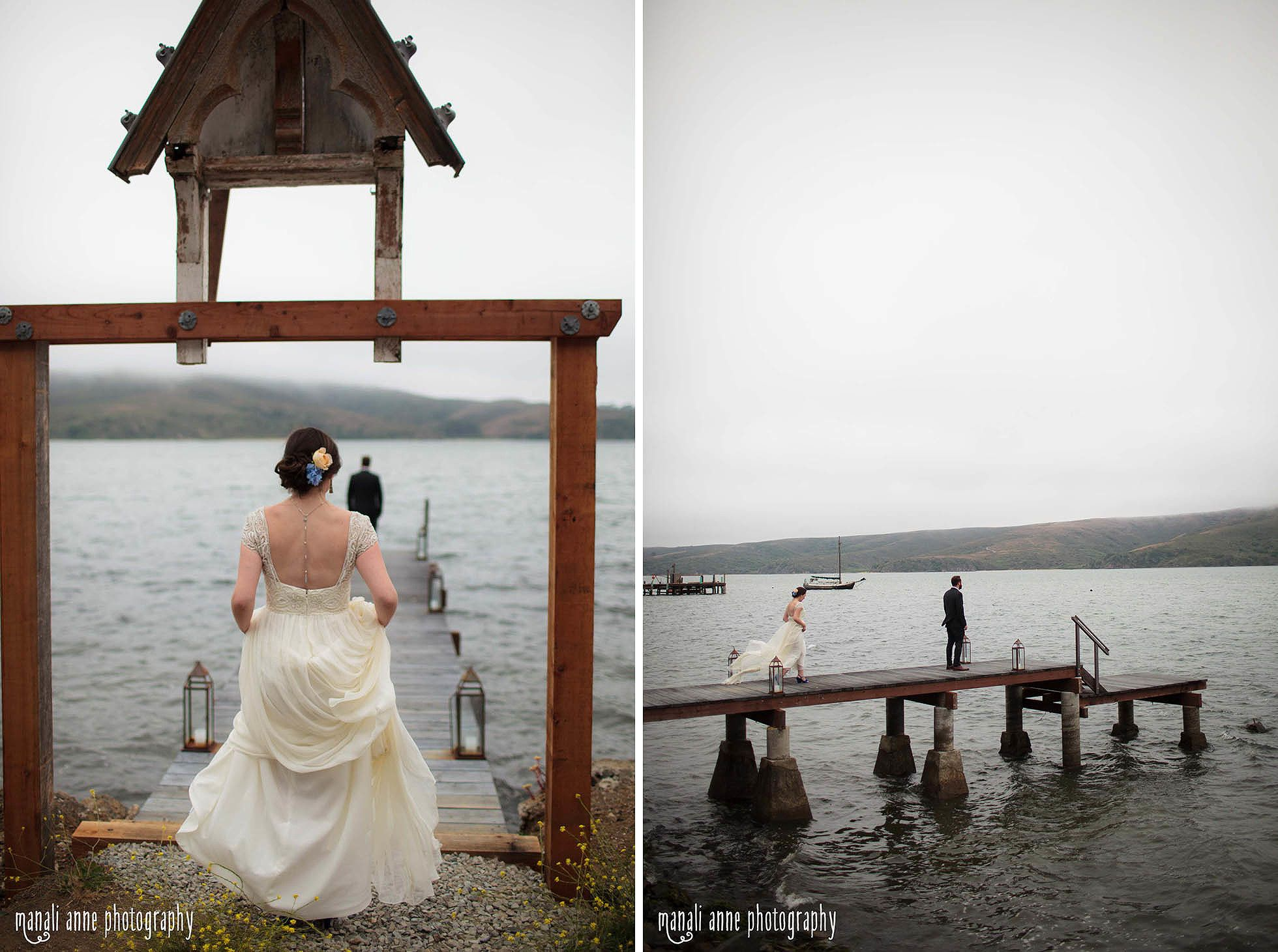 A Dreamy First Look On A Dock Overlooking Tomales Bay,