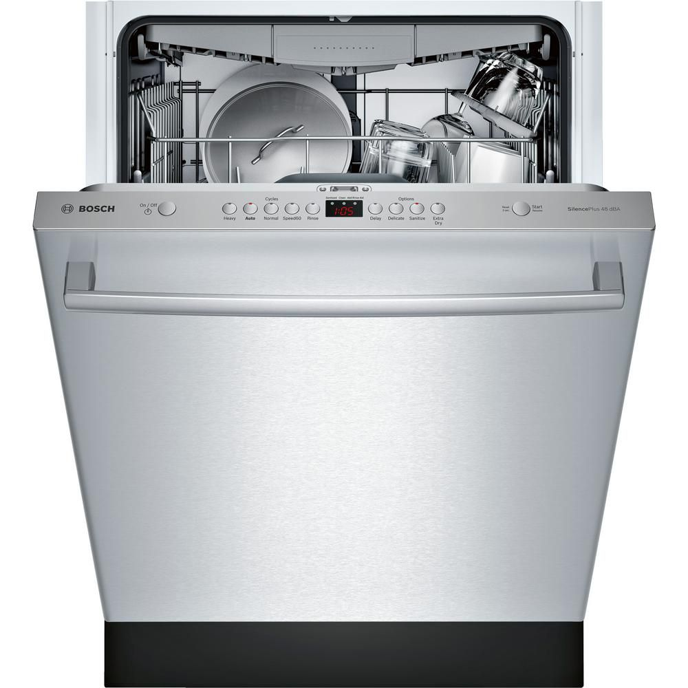 Bosch 100 Series Top Control Tall Tub Dishwasher In Stainless Steel With Hybrid Stainless Steel Tub And 3rd Rack 48dba Shxm4ay55n The Home Depot Built In Dishwasher Integrated Dishwasher Steel Tub