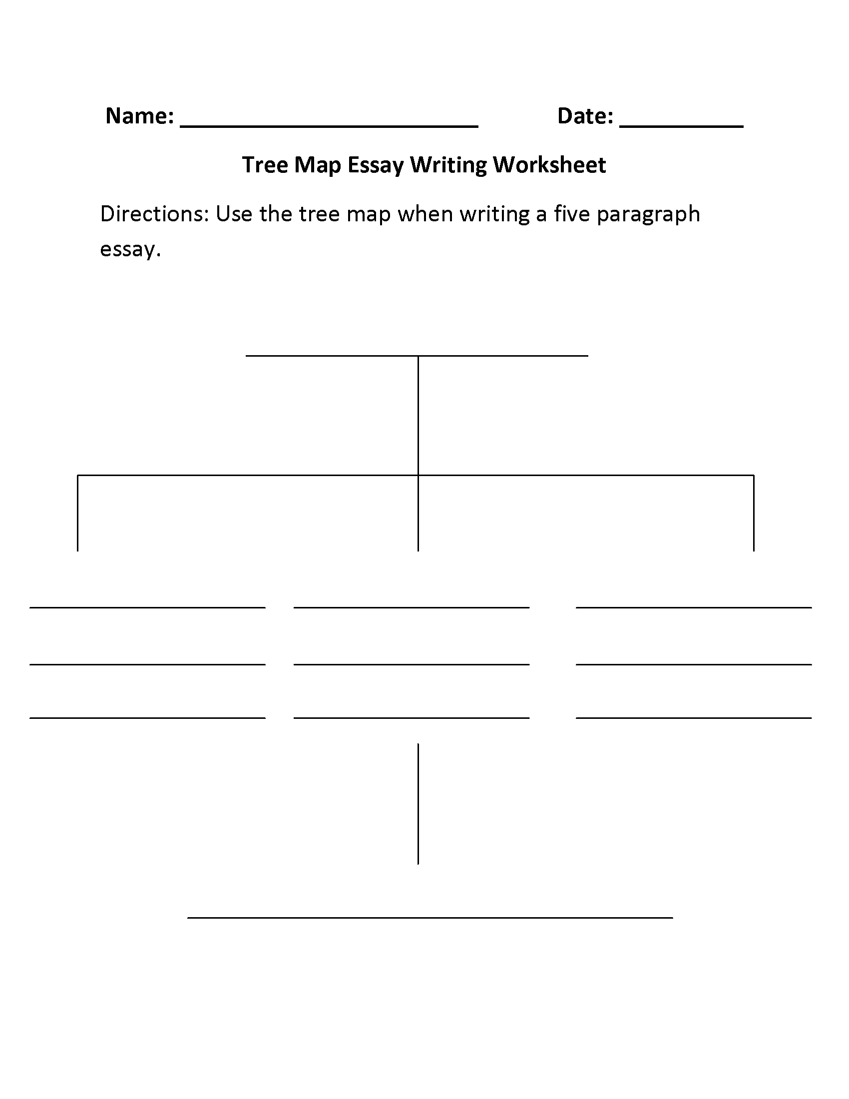 Tree Map Essay Writing Worksheets Essay Writing Reading Comprehension Worksheets Writing Worksheets [ 2200 x 1700 Pixel ]