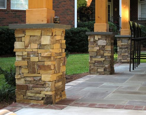 The Custom Stone Column Bases For This Outdoor Structure