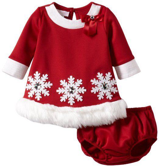 Bonnie Jean 2 Pc Christmas Holiday Dress Coat Set Red Scuba Faux Fur Trimming