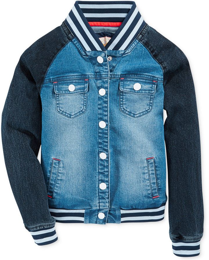 f8c42c6cc Tommy Hilfiger Girls' Denim Baseball Jacket | Basketball | Tommy ...