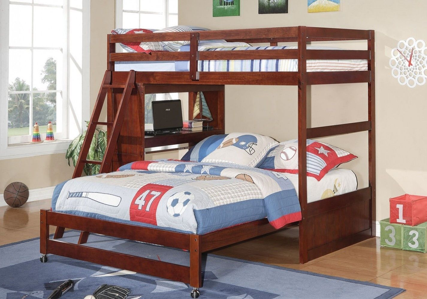 Twin Over Full Size Loft Bed For Teens With Desk Loft
