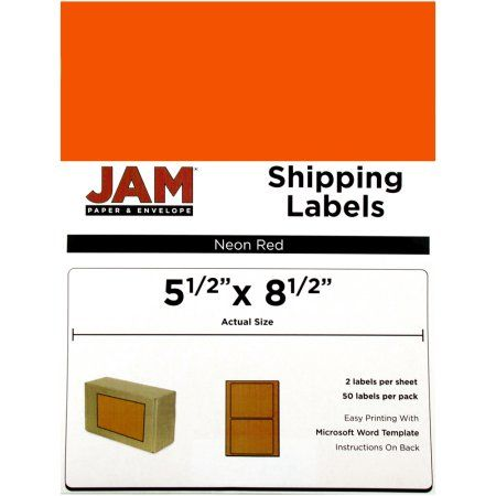 JAM Paper Large Half Sheet Shipping Labels, Neon Red, 2-Page/50-Pack
