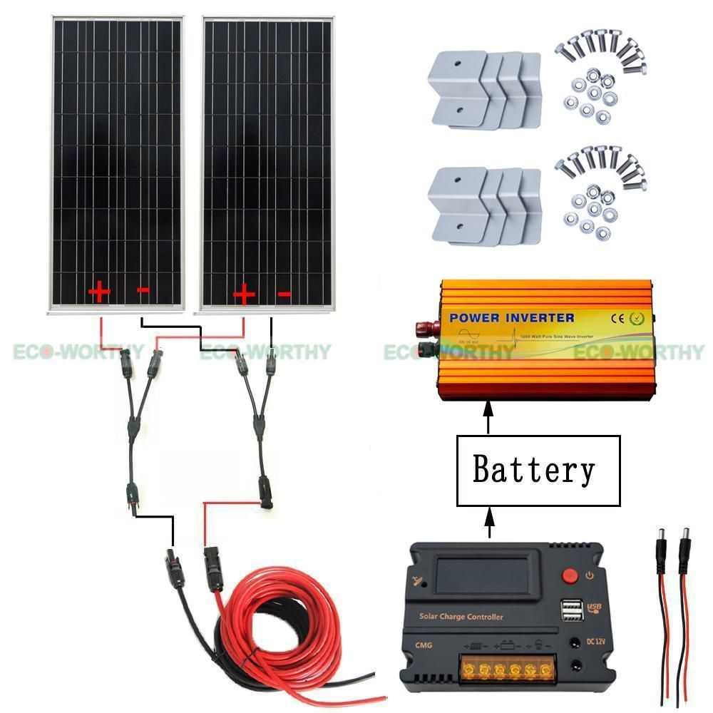 2x 100w 12v Solar Panel Amp 20a Cmg Controller 1kw Inverter For 200w Home System 12v Solar Panel Solar Panels Solar Panels For Sale