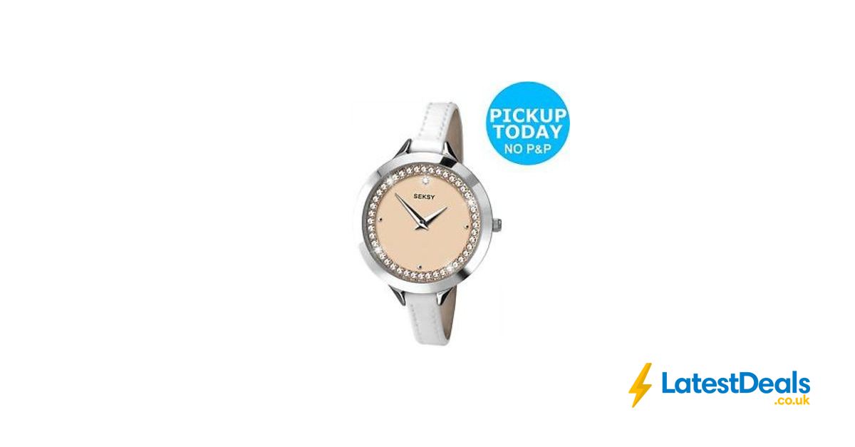 Seksy La s Rose Dial Stone Set White Leather Strap Watch at