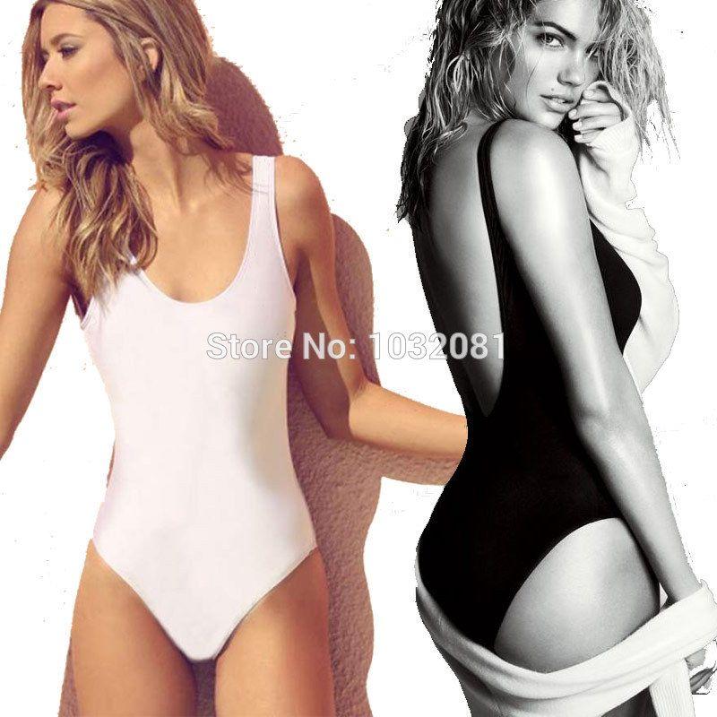 846b8ca8d54 Hot black Swimsuit women high cut one piece swimwear women backless  monokini bodysuit bather bathing suit maillot de bain V128-in One-Piece  Suits from ...