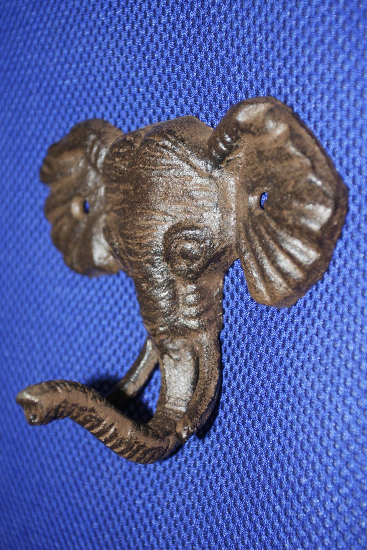 ELEPHANT Head Wall Hook Cast Iron Metal Safari Animal Decor