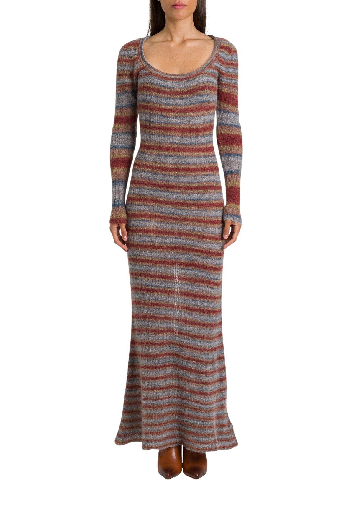 Jacquemus Long Sleeve Knitted Striped Maxi Dress In Red Modesens Striped Maxi Dresses Viscose Dress Long Sleeve Knit [ 1800 x 1200 Pixel ]