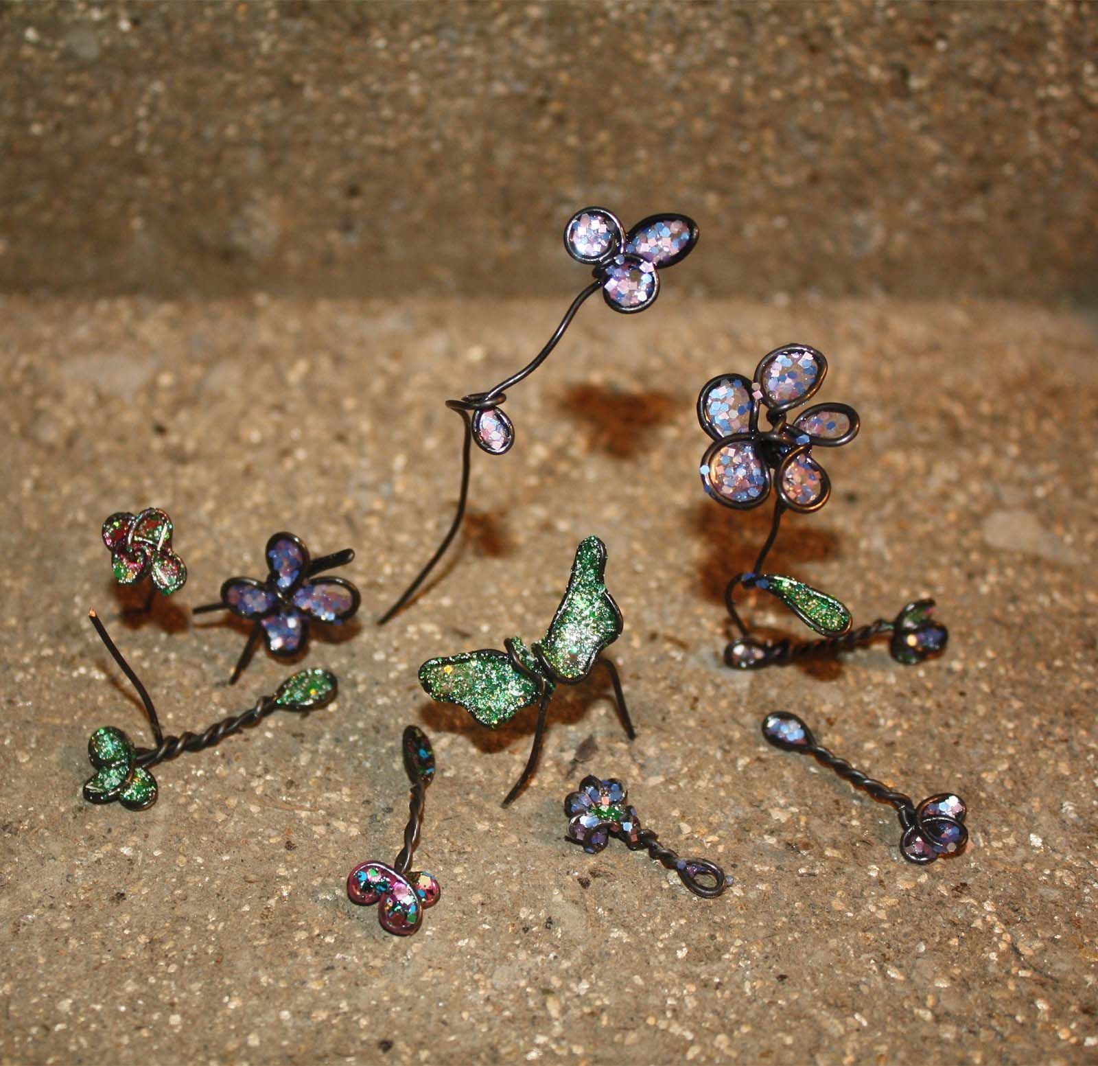 Twisted Wire And Nail Polish Fairy Wands Flowers Butterflys And