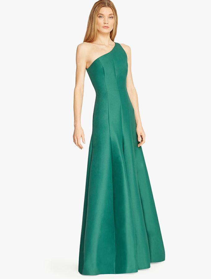 Halston - One Shoulder Silk Faille Gown