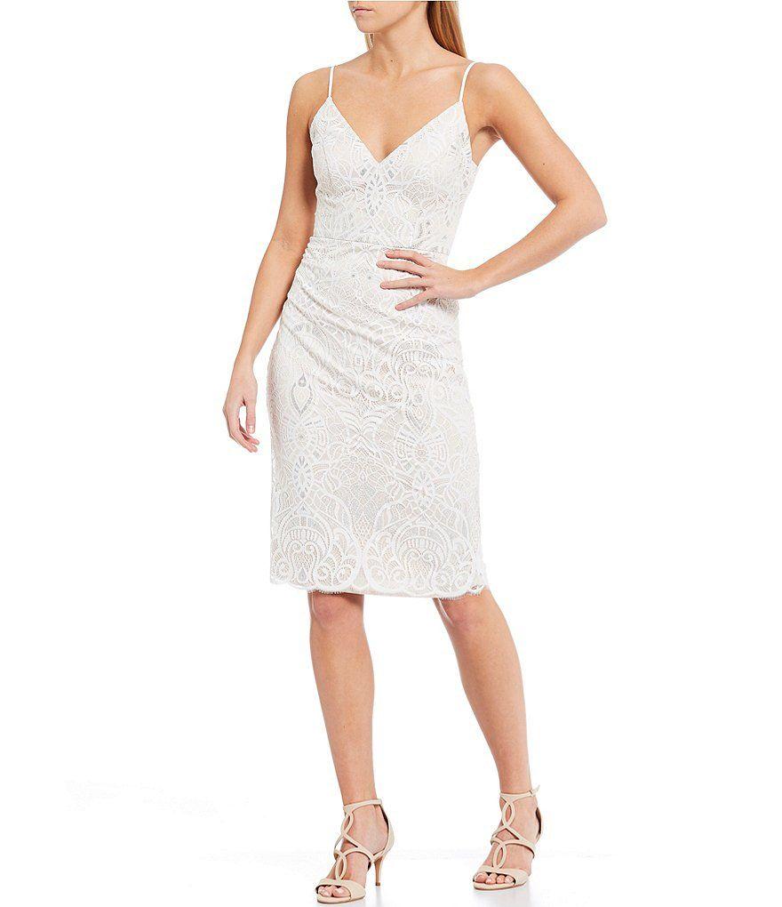 Vince Camuto Sleeveless Metallic Lace Sheath Dress Dillard S Casual Dresses For Teens Dresses Lace Sheath Dress [ 1020 x 880 Pixel ]