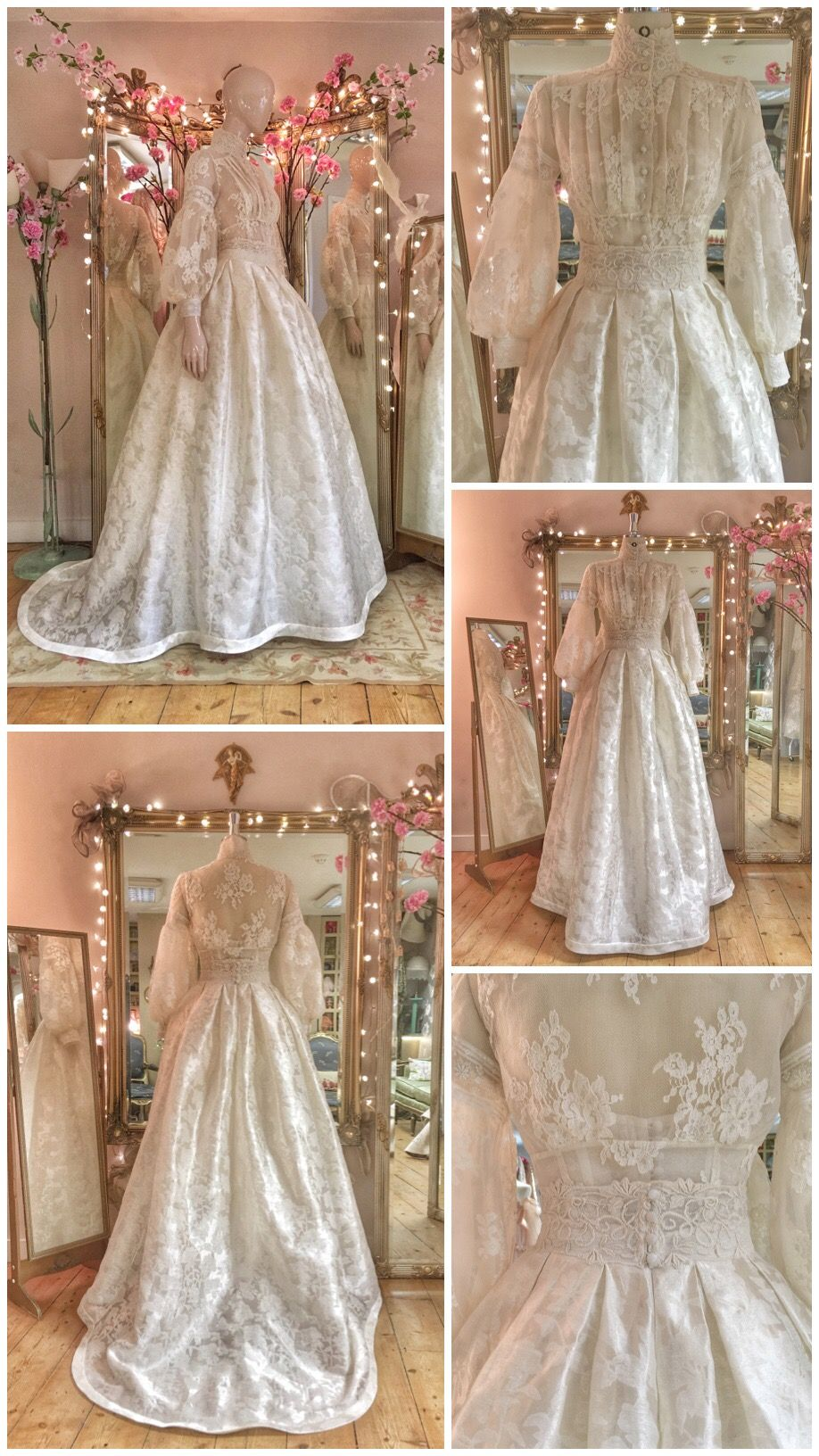 Edwardian Lace Wedding Dress With A High Neck Blouse And Silk