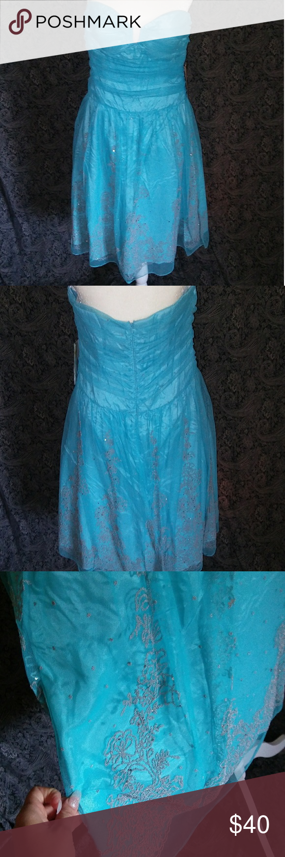 Niki livas turquoise homecoming or prom dress with silver