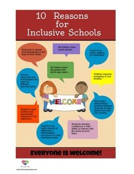 Poster 10 Reasons For Inclusive Schools Poster Freebie Inclusion Classroom Inclusive Education Special Education Inclusion