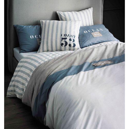 parure de lit 240 x 260 cm en coton blanche bord de mer pinterest maison du monde oc an. Black Bedroom Furniture Sets. Home Design Ideas