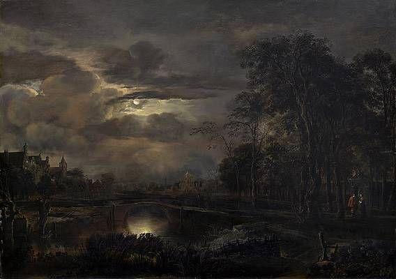 Van Der Painting - Moonlit Landscape With Bridge by Aert Van Der Neer