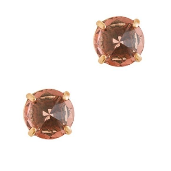 J Crew Glass Point Earings Pointy glass crystals give new meaning to studs. Brass, glass. Posts. Light gold ox plating. The color is a amber rose. Only worn once. Like new. J. Crew Jewelry Earrings