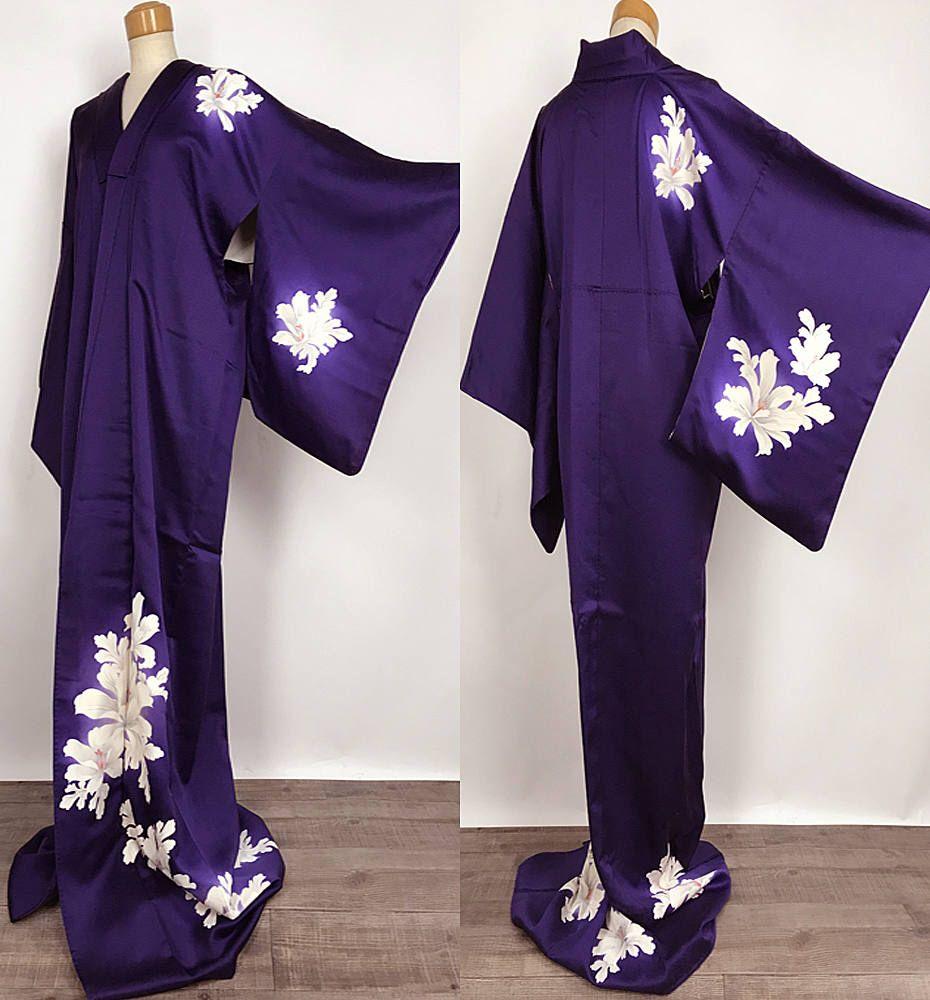 Silk Tsukesage Kimono in Dark Purple