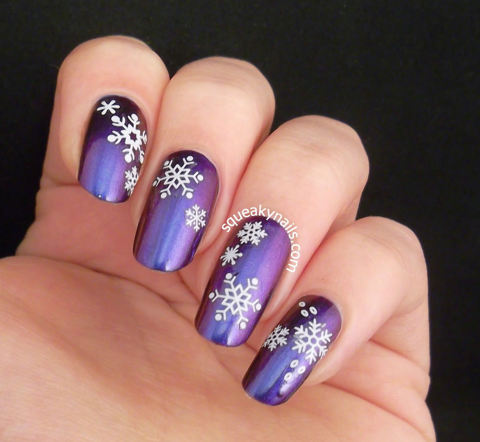 Dainty Snowflake Water Decals over Spell Polish Escaping Gravity ...