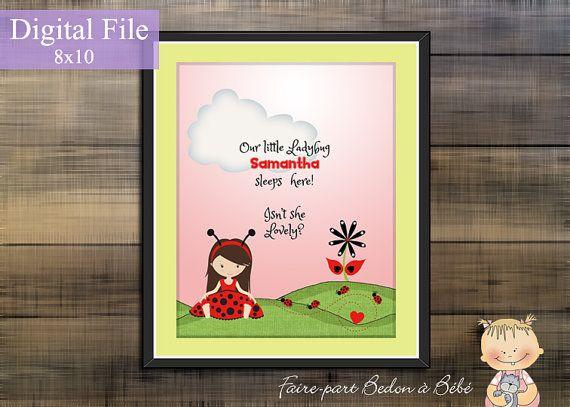 Digital Printable  Personalized Ladybug by Fairepartbedonabebe