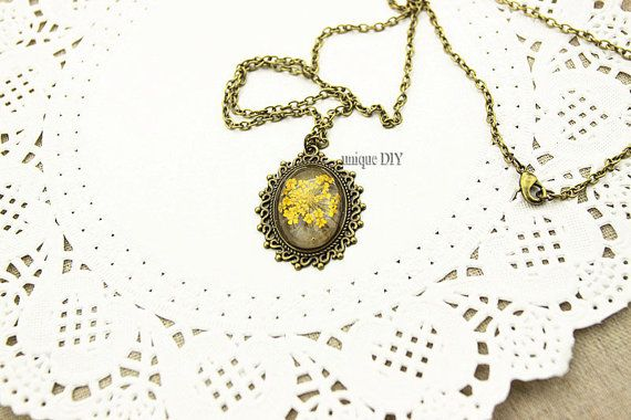 Yellow flowers necklace real flower necklace marble by uniqueDIY