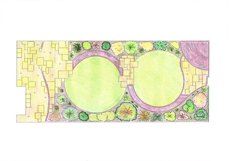 "S"" Shaped Path Separates Two Almost Circular Lawns With A Pergola"