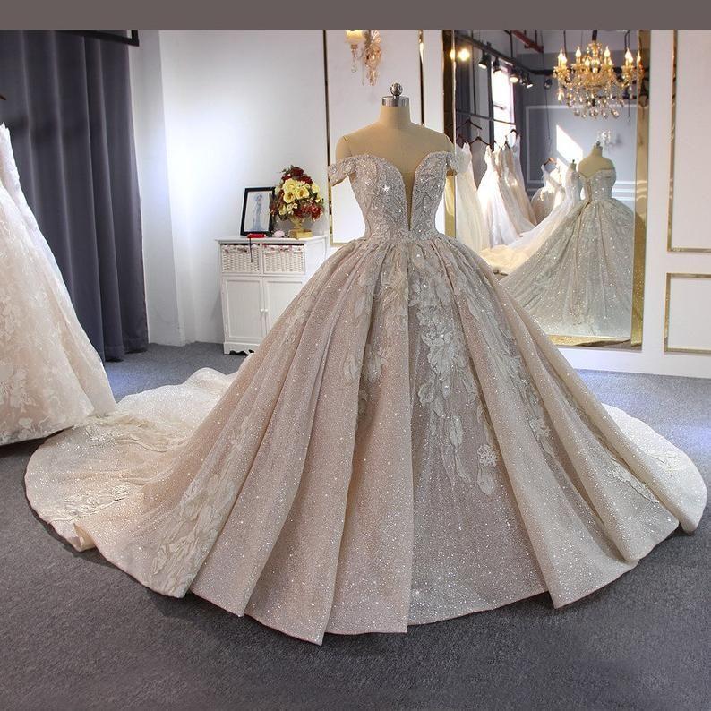 Ballgown off shoulder wedding dress