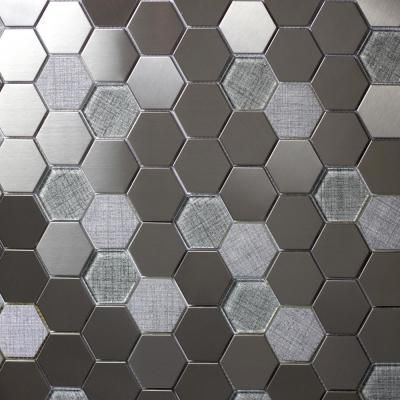 Abolos Enchanted Metals Silver Hexagon Mosaic 2 In X 2 In Glass And Metal Mesh Mounted Wall And Floor Tile 1 Sq Ft Wall Floor Tiles Tiles Hexagon Mosaic Tile