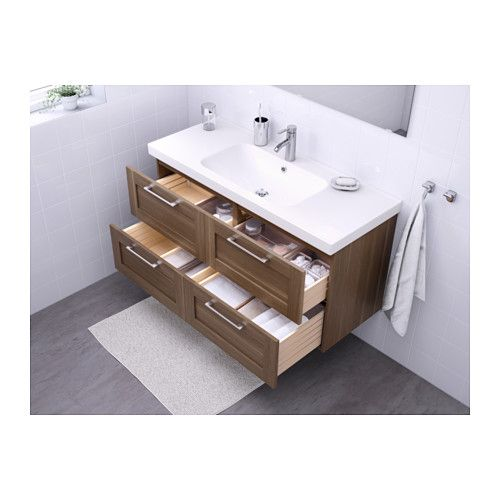 Godmorgon odensvik sink cabinet with 4 drawers high - Walnut effect living room furniture ...