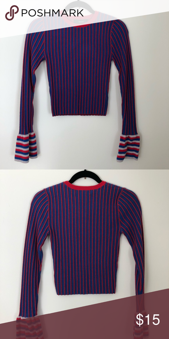 FOREVER21 Striped red and blue bell sleeve sweater Cute cropped sweater  from forever 21 with contrast bell sleeves Forever 21 Sweaters Crew   Scoop  Necks a398c347c