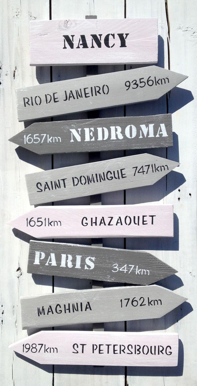 Panneau de direction personnalisable avec fl ches en bois - Panneaux decoration murale ...
