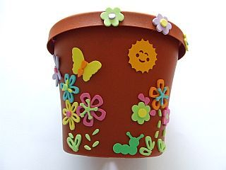 194 & Decorating a Plastic Flower Pot with foam die-cut shapes ...
