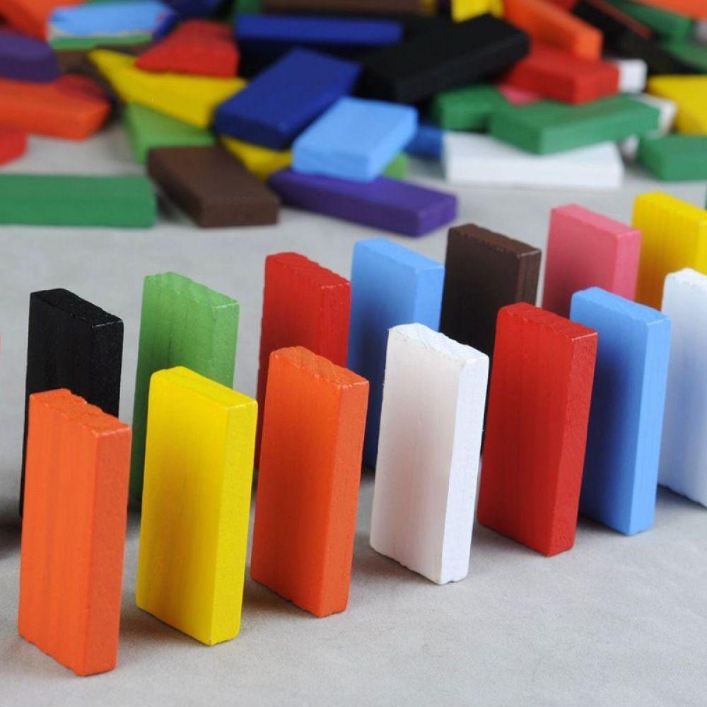 Wooden Domino Set 120 pcs Board Game For Kids Children Toys Wooden Dominoes DIY