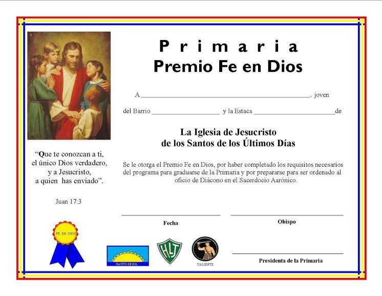 CERTIFICADO FE EN DIOS PARA NINA Y NINO | primaria | Lds primary ...