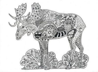 Moose Strength Self Esteem Maturity Animal Spirit Tangle Unique Coloring Page