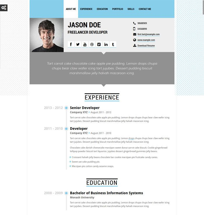 10 Top Cv And Resume Website Templates Website Template Chocolate Apples Resume