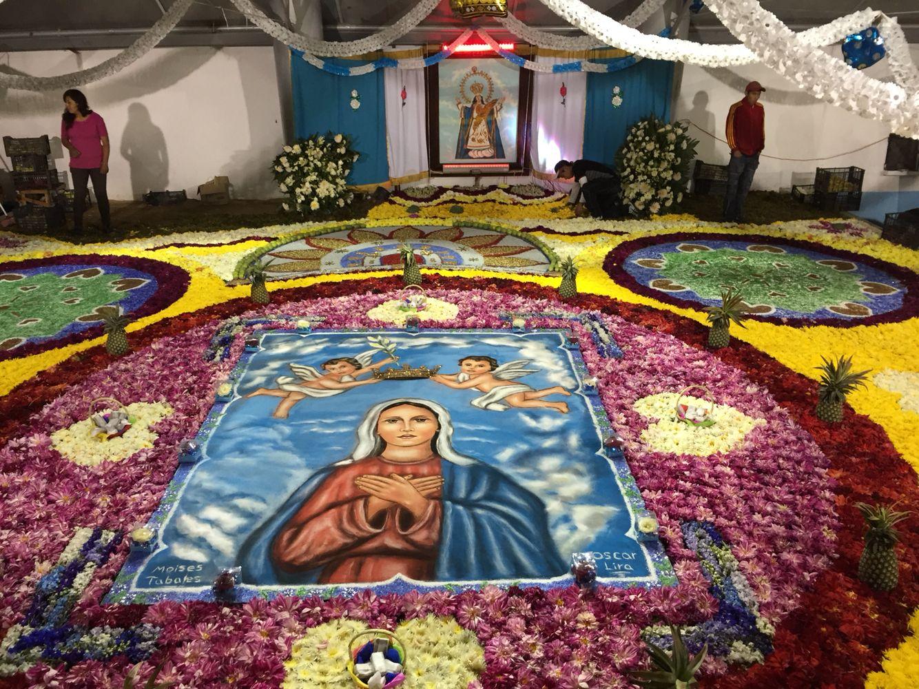 Tapetes y alfombras aserrin de colores y flores virgen de Alfombras persas en mexico