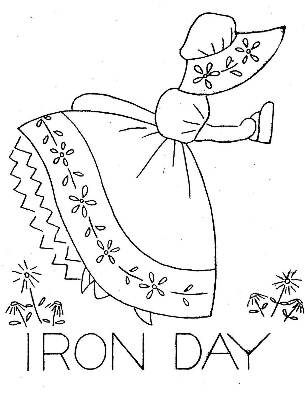 Colonial Girls Sunbonnet Girls Embroidery iron on by BlondiesSpot ...