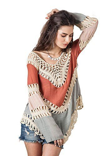 2584358714d244 Nicetage Women Fashion Lace Crochet Hollow Poncho Knitwear Splice Swimwear  Top Beach Dress Shirt Bikini Cover Up Ideal cover-ups for all your Leisure  ...