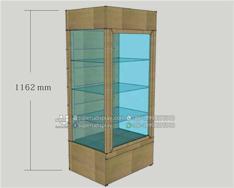 Custom Floor Wood Sunglasses Cabinet Tower Stand With Lock And