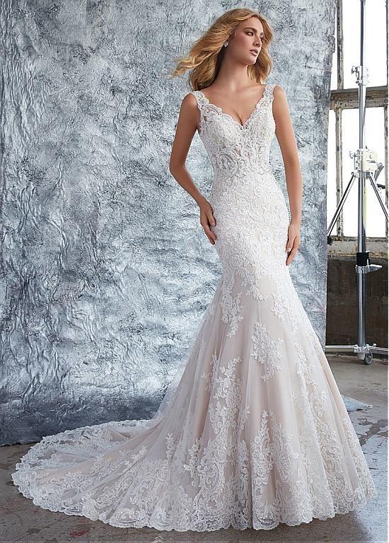 Chic Tulle & Organza V-neck Neckline Mermaid Wedding Dress With ...