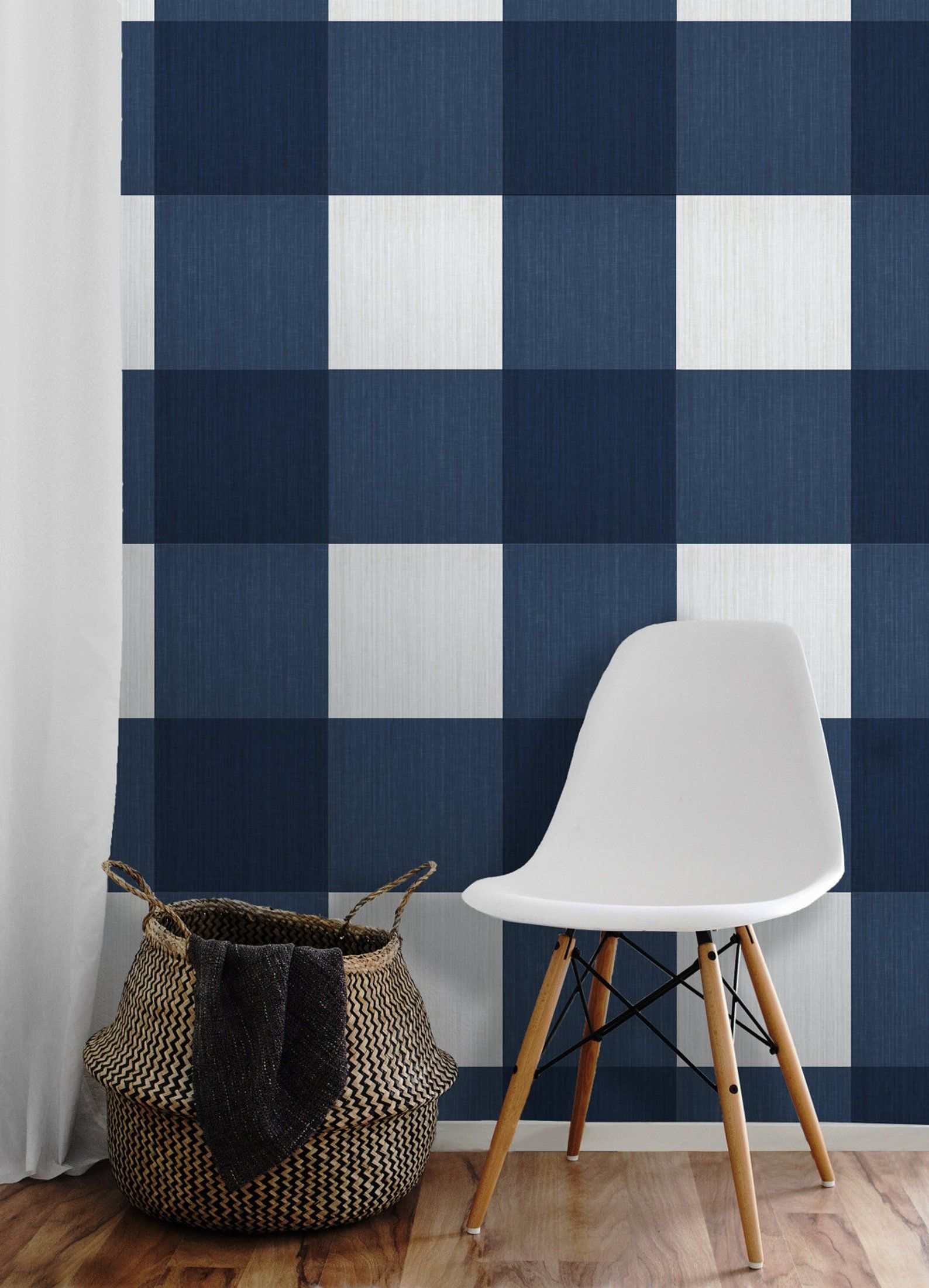 Large Buffalo Check (12 inch) // Navy Removable Peel 'n