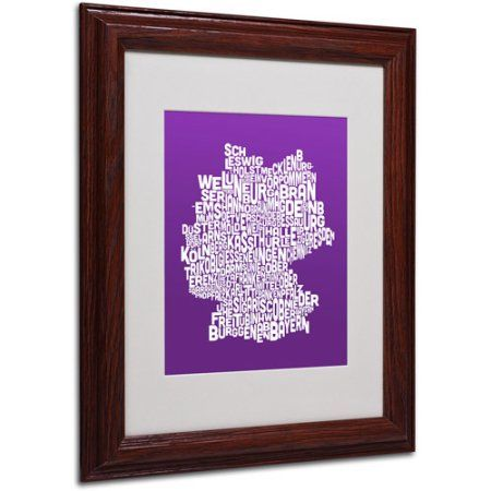Trademark Fine Art purple-Germany Regions Map Matted Framed by Michael Tompsett, Size: 11 x 14, Multicolor
