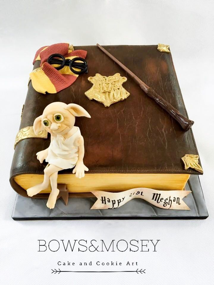 Harry potter book birthday cake with images cookie art