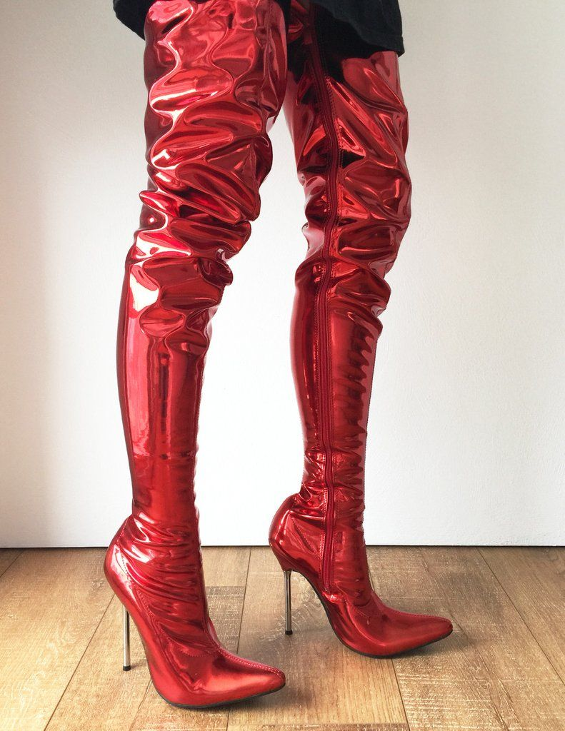 1d3d4c5b251 LETHAL 12cm Silver Metal Heel 80cm Crotch Show Boot Metallic Red Fire  Customize