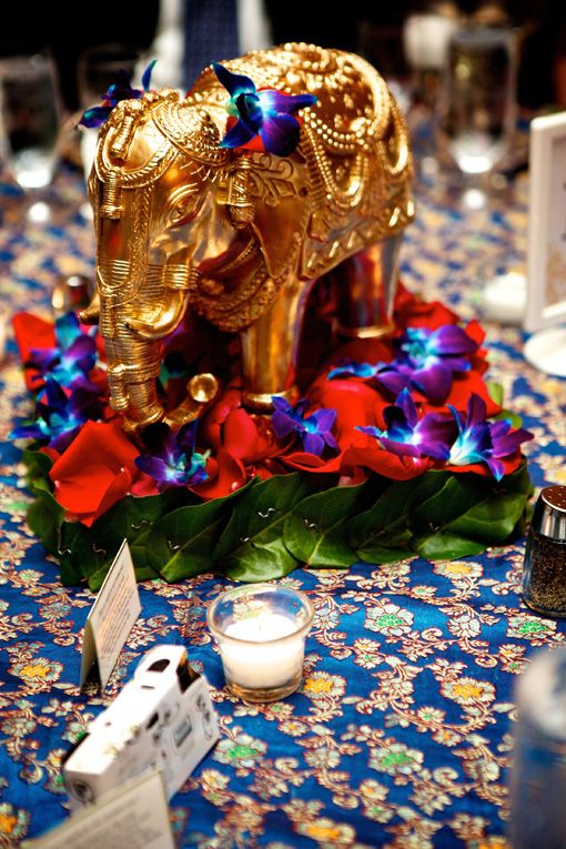 Indian wedding elephant centerpiece