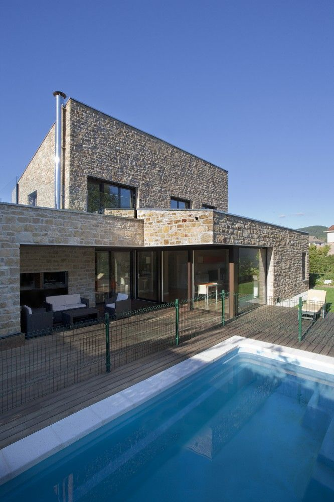 Swimming Pool View Traditional Family House Made Of Sandstone