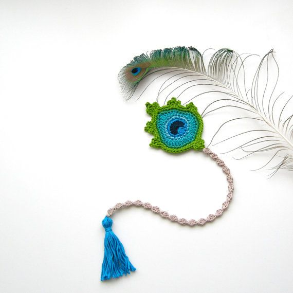 Bookmark Crochet Peacock Feather Lovely by TheCurioCraftsRoom ...