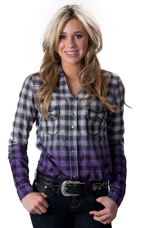 78295a41 Rock 47 by Wrangler Women's Purple & Black Dip Dye Plaid Long Sleeve  Western Shirt